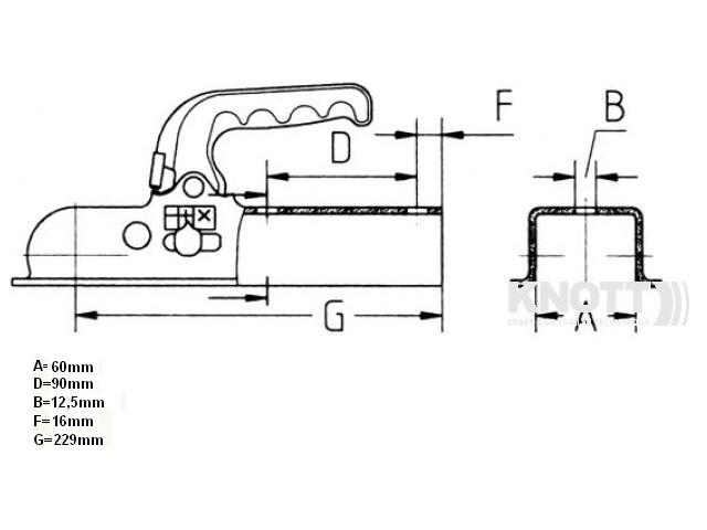 Sukabinimo spyna K7,5L (iki 750kg) 60x60